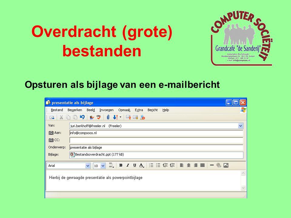 Overdracht (grote) bestanden Opsturen als bijlage van een e-mailbericht