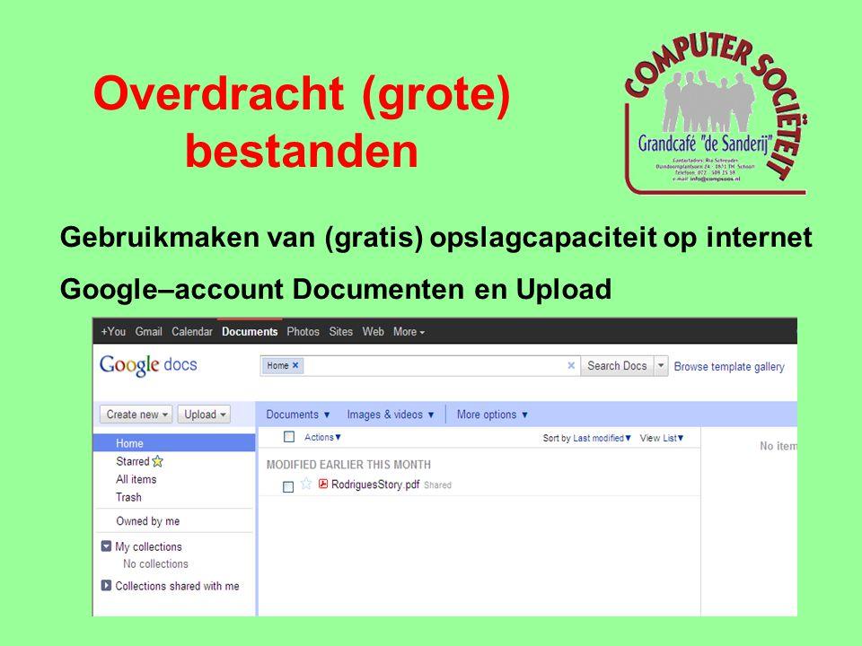 Overdracht (grote) bestanden Gebruikmaken van (gratis) opslagcapaciteit op internet MS Live SkyDrive account: • aanmelden met live/hotmail ID en wachtwoord via https://login.live.com