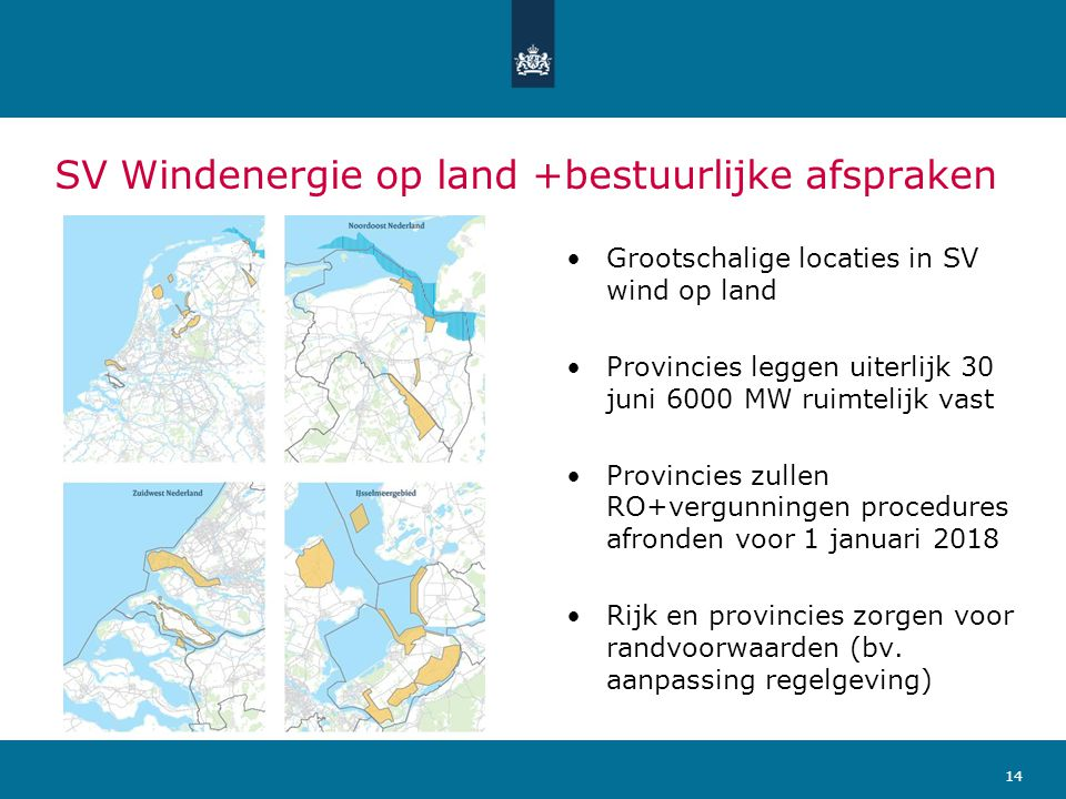 SV Windenergie op land +bestuurlijke afspraken •Grootschalige locaties in SV wind op land •Provincies leggen uiterlijk 30 juni 6000 MW ruimtelijk vast