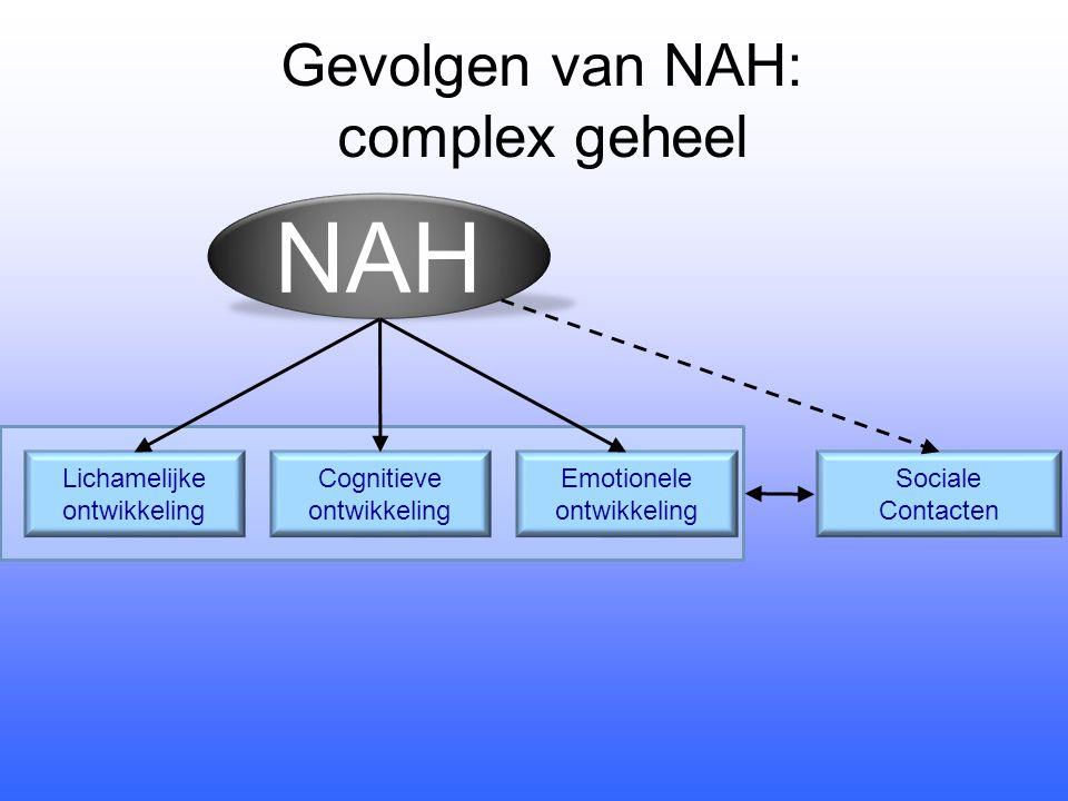 NAH Lichamelijke ontwikkeling Cognitieve ontwikkeling Emotionele ontwikkeling Sociale Contacten Gevolgen van NAH: complex geheel