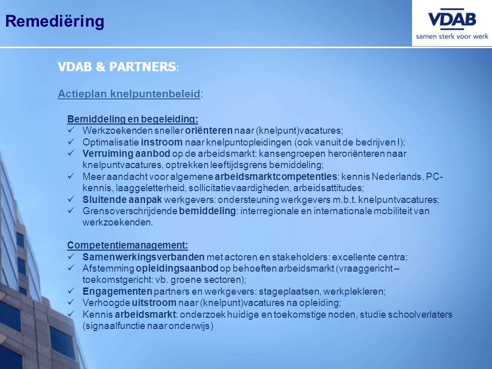 Remediëring VDAB & PARTNERS : Actieplan knelpuntenbeleid: Bemiddeling en begeleiding:  Werkzoekenden sneller oriënteren naar (knelpunt)vacatures;  O
