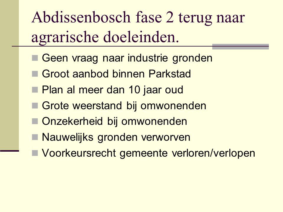Abdissenbosch fase 2 terug naar agrarische doeleinden.  Geen vraag naar industrie gronden  Groot aanbod binnen Parkstad  Plan al meer dan 10 jaar o