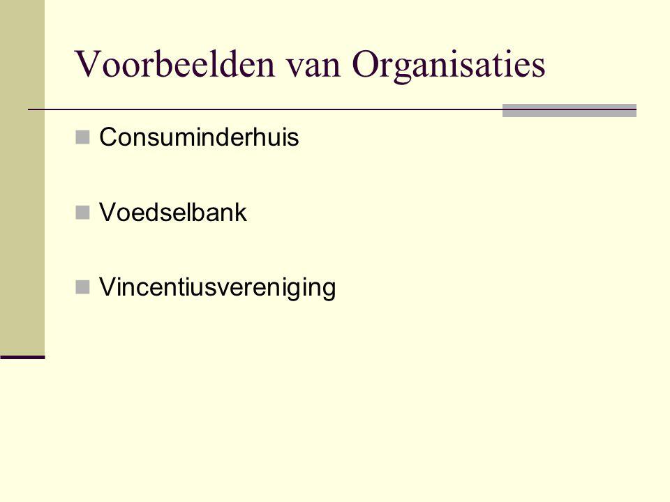 Voorbeelden van Organisaties  Consuminderhuis  Voedselbank  Vincentiusvereniging