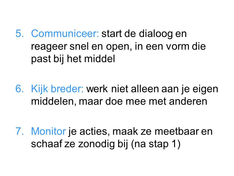 5.Communiceer: start de dialoog en reageer snel en open, in een vorm die past bij het middel 6.Kijk breder: werk niet alleen aan je eigen middelen, ma
