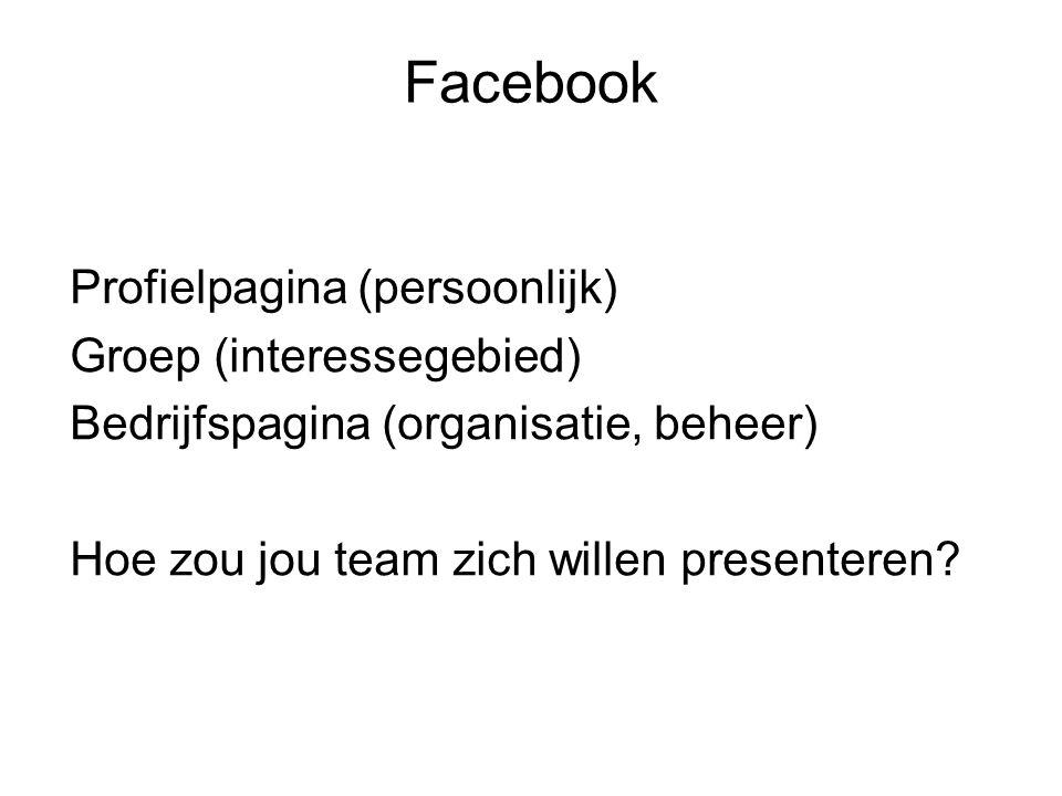 Profielpagina (persoonlijk) Groep (interessegebied) Bedrijfspagina (organisatie, beheer) Hoe zou jou team zich willen presenteren? Facebook
