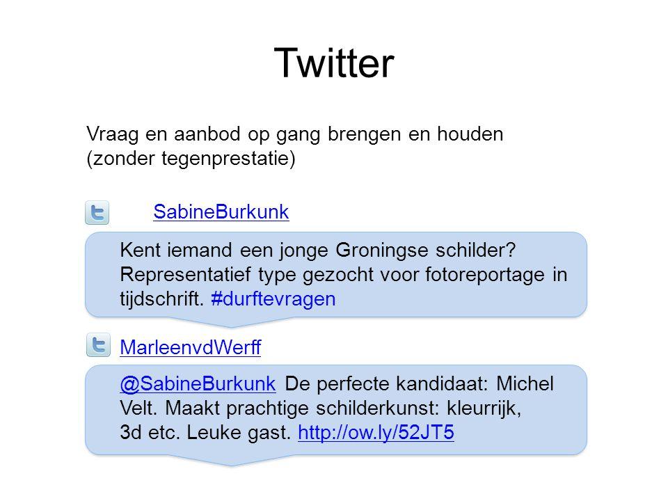 Twitter Vraag en aanbod op gang brengen en houden (zonder tegenprestatie) SabineBurkunk Kent iemand een jonge Groningse schilder? Representatief type