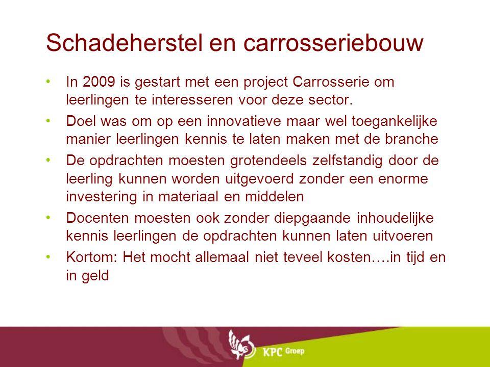 Schadeherstel en carrosseriebouw •In 2009 is gestart met een project Carrosserie om leerlingen te interesseren voor deze sector. •Doel was om op een i