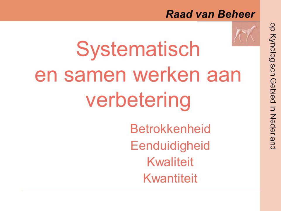 Raad van Beheer op Kynologisch Gebied in Nederland 21-01-2006Infodag RVDia nummer 12 Examenformulier •Praktijk –Rastype –Rastypische fouten –Verschillen tov cie –Praktische kennis –Opbouw verslag –Minimaal 6.0 •Theorie –Theoretische kennis –Oorsprong en totstandkoming –Geschiedenis en opkomst in NL –Aanverwante rassen –Kennis van karakter en (oorspr) gebruik –Stand van ras in NL –Gezondheid –Minimaal 6.0