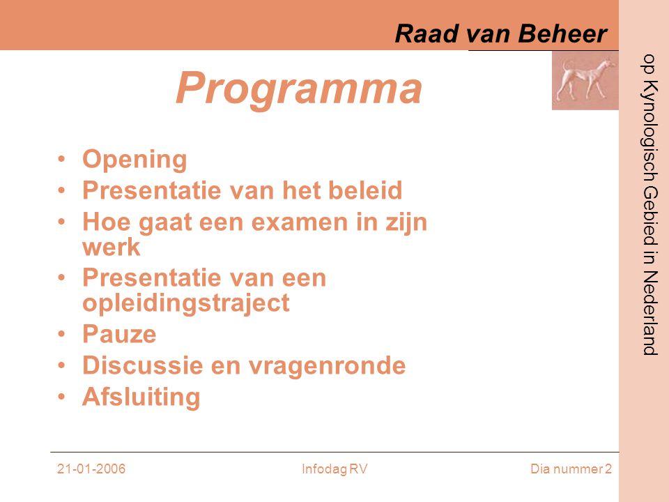 Raad van Beheer op Kynologisch Gebied in Nederland 21-01-2006Infodag RVDia nummer 13 EXAMENS VOLLEDIG –3 reuen en 3 teven –Examencommissie –Organisatie bij de rasvereniging •Zaal (bepaalde eisen) •Lunch •Honden –Beoordeling –Op aparte dagen –Voor bepaalde datum aanvragen –Vereniging adviseert inzake examinatoren –Bepaalde pilots in 2005 en 2006 (i.o.m.