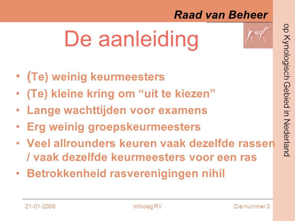 Raad van Beheer op Kynologisch Gebied in Nederland 21-01-2006Infodag RVDia nummer 24 Een voorbeeld op papier •Info avond •Boekwerkje met tekeningen / tekst / historie / info rv •Rasstandaard theorie / evt.