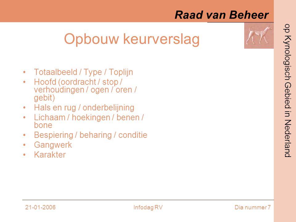 Raad van Beheer op Kynologisch Gebied in Nederland 21-01-2006Infodag RVDia nummer 28 Een schema •09.30 – 10.00 Commissie - K 1 •10.00 – 10.30K 1 – Commissie •10.30 – 11.00 K 2 – K 3 •11.00 – 11.30K 3 – K 2 •11.30 – 12.00K 4 – K 5 •12.00 – 12.30 K 5 – K 4 •12.30 – 12.40 Comp 1 – Comp 2 •12.40 – 12.50 Comp 2 – Comp 1 •13.00 – 14.00 Pauze •14.00 – 14.30 K 6 – K 7 •14.30 – 15.00 K 7 – K 6 •Vanaf 10.30 theorie in kamertje !!