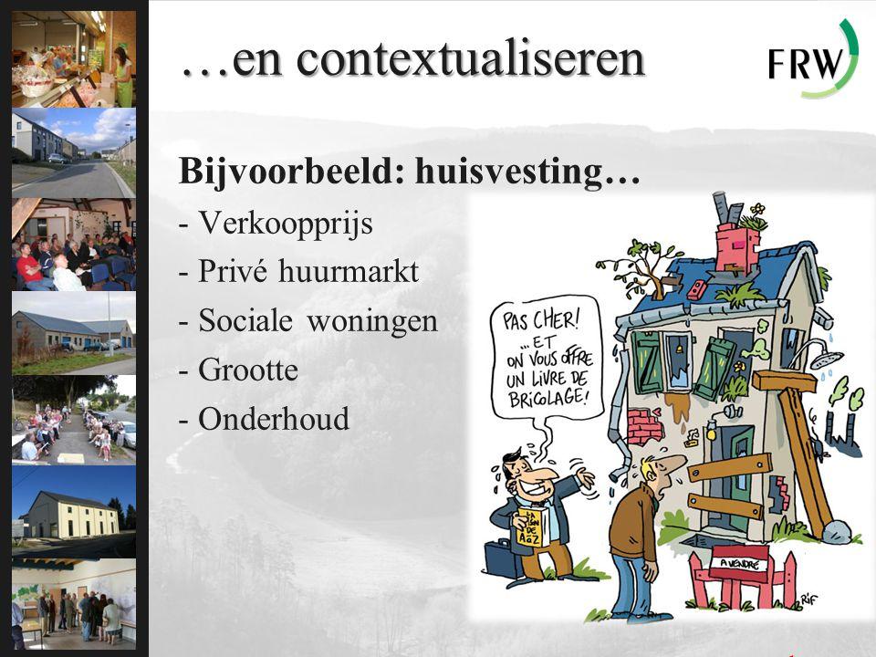 …en contextualiseren Bijvoorbeeld: huisvesting… - Verkoopprijs - Privé huurmarkt - Sociale woningen - Grootte - Onderhoud … en complexe…