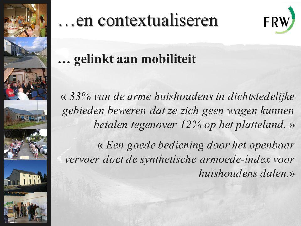 …en contextualiseren … gelinkt aan mobiliteit « 33% van de arme huishoudens in dichtstedelijke gebieden beweren dat ze zich geen wagen kunnen betalen tegenover 12% op het platteland.