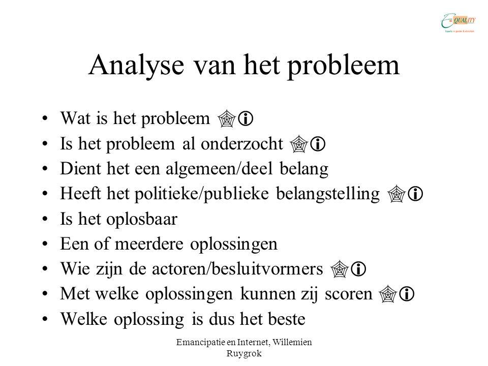 Emancipatie en Internet, Willemien Ruygrok Analyse van het probleem •Wat is het probleem  •Is het probleem al onderzocht  •Dient het een algemeen/