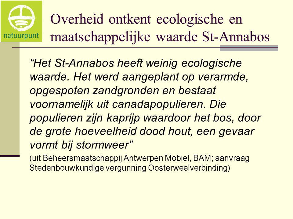 Overheid ontkent ecologische en maatschappelijke waarde St-Annabos Het St-Annabos heeft weinig ecologische waarde.