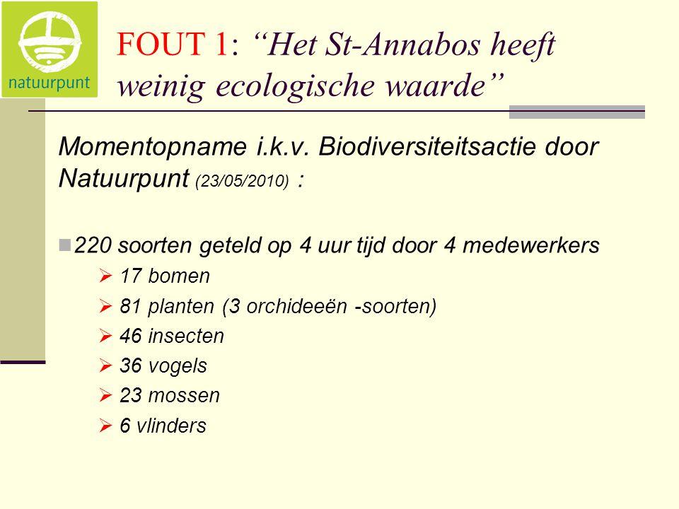 FOUT 1: Het St-Annabos heeft weinig ecologische waarde Momentopname i.k.v.
