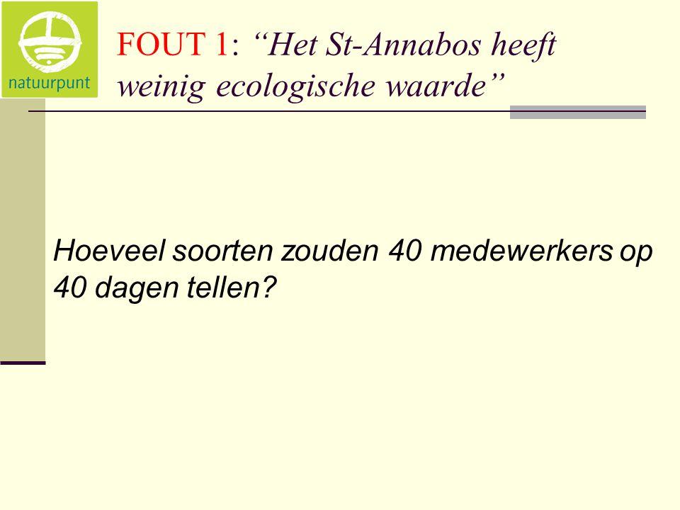 FOUT 1: Het St-Annabos heeft weinig ecologische waarde Hoeveel soorten zouden 40 medewerkers op 40 dagen tellen