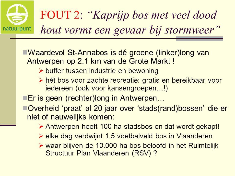 FOUT 2: Kaprijp bos met veel dood hout vormt een gevaar bij stormweer  Waardevol St-Annabos is dé groene (linker)long van Antwerpen op 2.1 km van de Grote Markt .
