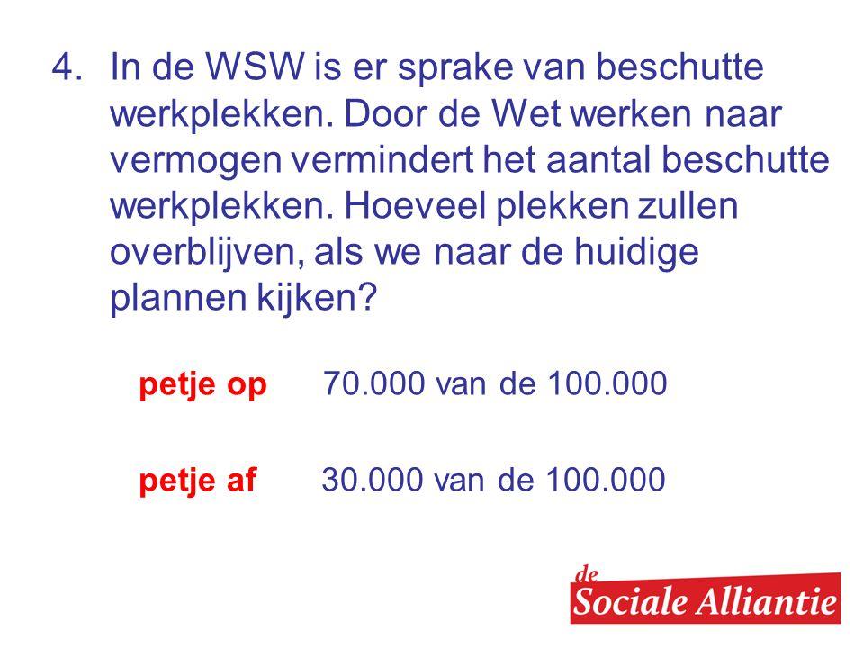 4.In de WSW is er sprake van beschutte werkplekken.