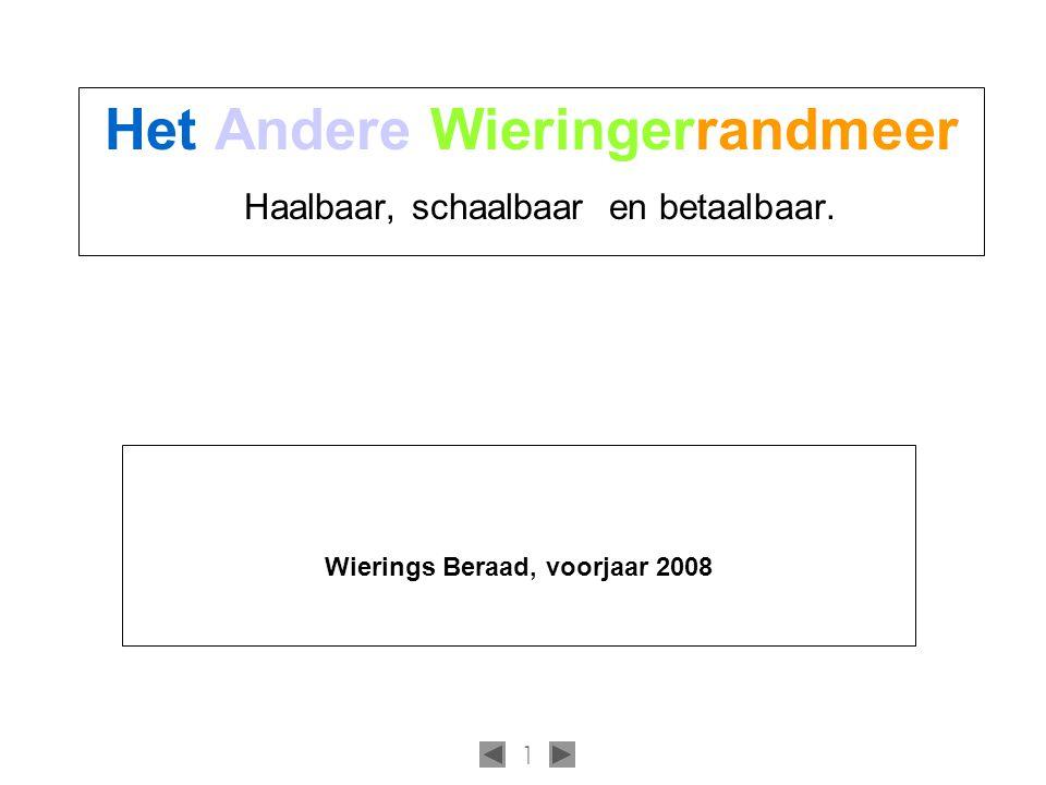 1 Het Andere Wieringerrandmeer Haalbaar, schaalbaar en betaalbaar. Wierings Beraad, voorjaar 2008