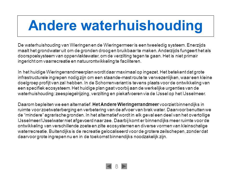 8 Andere waterhuishouding De waterhuishouding van Wieringen en de Wieringermeer is een tweeledig systeem.