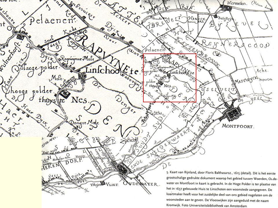 Een kaart van de provincie Utrecht van rond 1750.