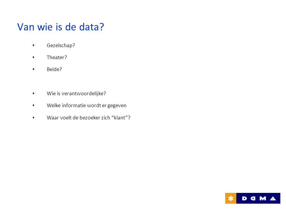 """Van wie is de data? • Gezelschap? • Theater? • Beide? • Wie is verantwoordelijke? • Welke informatie wordt er gegeven • Waar voelt de bezoeker zich """"k"""