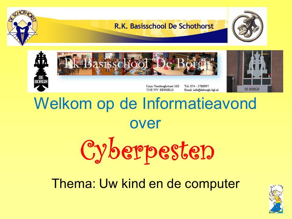 Welkom op de Informatieavond over Cyberpesten Thema: Uw kind en de computer