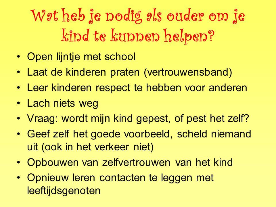 Wat heb je nodig als ouder om je kind te kunnen helpen? •Open lijntje met school •Laat de kinderen praten (vertrouwensband) •Leer kinderen respect te