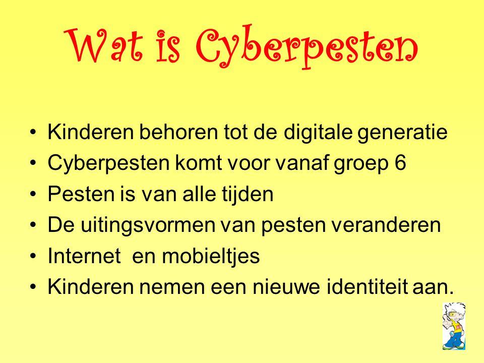 •Kinderen behoren tot de digitale generatie •Cyberpesten komt voor vanaf groep 6 •Pesten is van alle tijden •De uitingsvormen van pesten veranderen •I