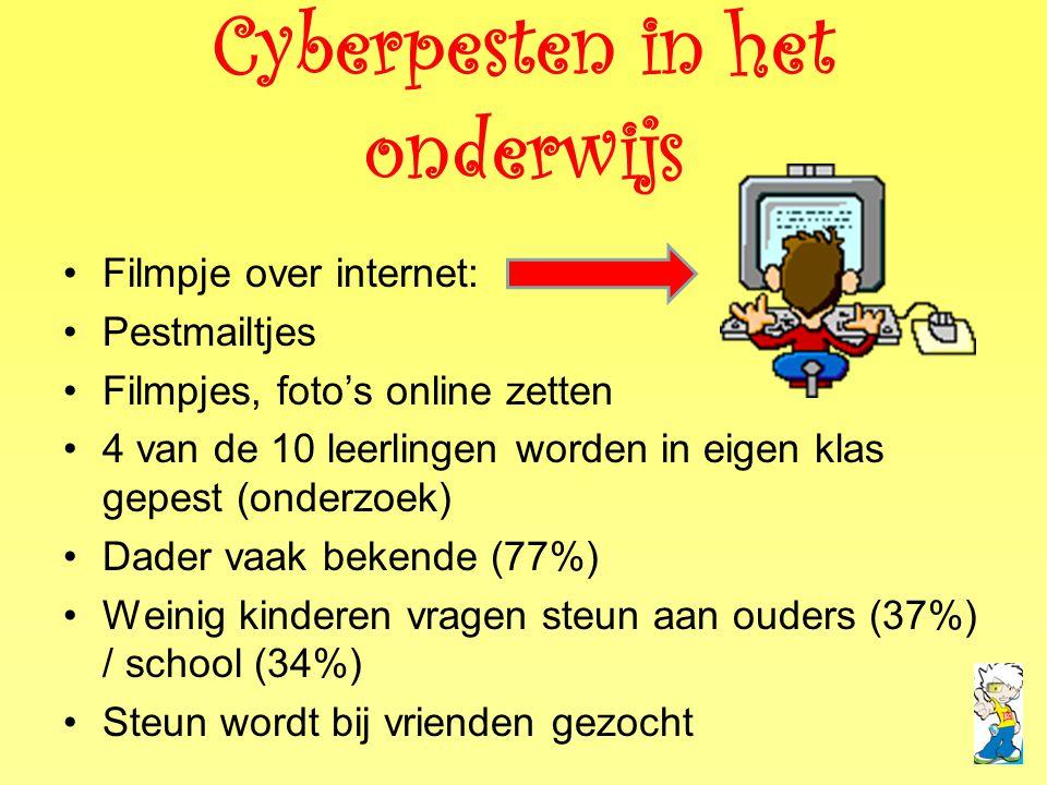 Cyberpesten in het onderwijs •Filmpje over internet: •Pestmailtjes •Filmpjes, foto's online zetten •4 van de 10 leerlingen worden in eigen klas gepest