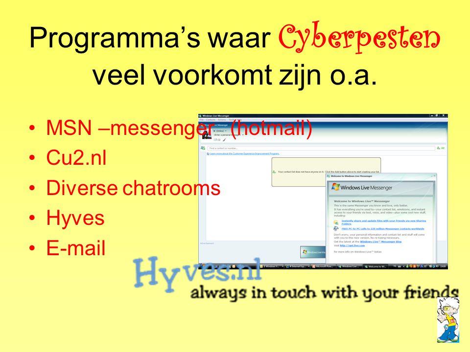 Programma's waar Cyberpesten veel voorkomt zijn o.a. •MSN –messenger (hotmail) •Cu2.nl •Diverse chatrooms •Hyves •E-mail