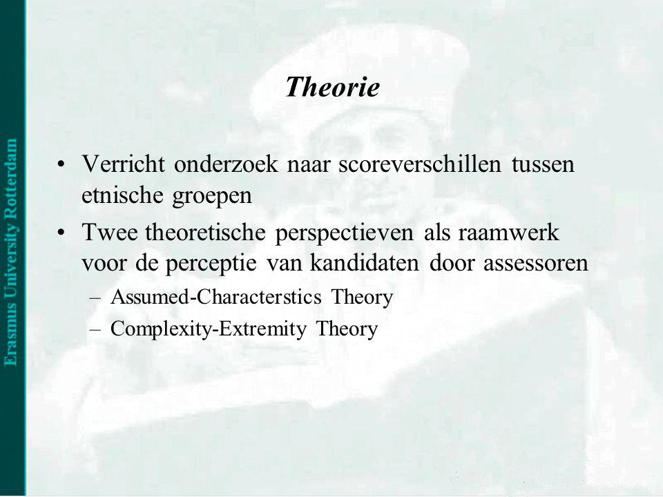 Theorie •Verricht onderzoek naar scoreverschillen tussen etnische groepen •Twee theoretische perspectieven als raamwerk voor de perceptie van kandidaten door assessoren –Assumed-Characterstics Theory –Complexity-Extremity Theory
