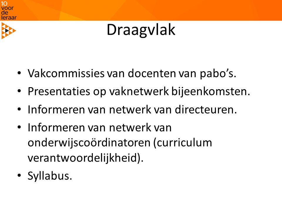Draagvlak • Vakcommissies van docenten van pabo's. • Presentaties op vaknetwerk bijeenkomsten. • Informeren van netwerk van directeuren. • Informeren
