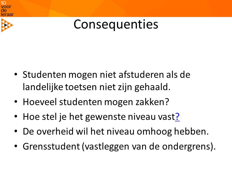 Consequenties • Studenten mogen niet afstuderen als de landelijke toetsen niet zijn gehaald. • Hoeveel studenten mogen zakken? • Hoe stel je het gewen
