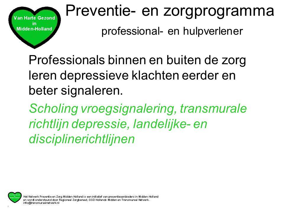 Professionals binnen en buiten de zorg leren depressieve klachten eerder en beter signaleren.