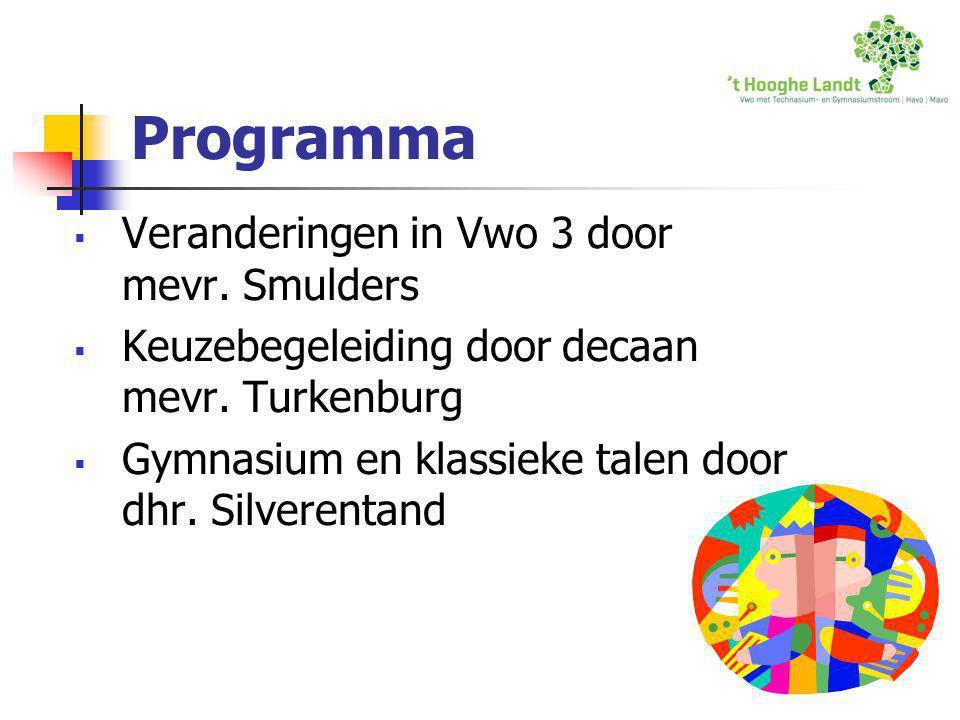 Programma  Veranderingen in Vwo 3 door mevr. Smulders  Keuzebegeleiding door decaan mevr. Turkenburg  Gymnasium en klassieke talen door dhr. Silver