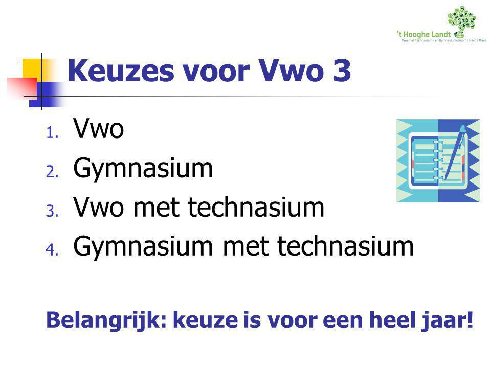 Keuzes voor Vwo 3 1. Vwo 2. Gymnasium 3. Vwo met technasium 4. Gymnasium met technasium Belangrijk: keuze is voor een heel jaar!