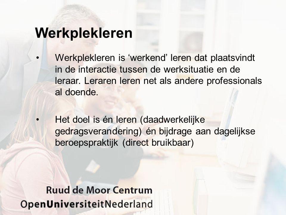Netwerkleren (De Laat, 2008) •Een netwerk is een verzameling knooppunten ('nodes') die zijn verbonden met links ('relaties) NL = Ontstaan van netwerken tussen lerenden waar ervarigns- en kennisuitwisseling plaats heeft obv praktijkleren NL = activiteit waarbij je je openstelt om kennis met anderen te delen en op een netwerkmanier verzamelt NL = deskundigheidsbevordering in een team dmv ervarings- en kennisuitwisseling NL = een manier van leren waarbij 'connectedness' en collective learning' een belangrijke rol spelen