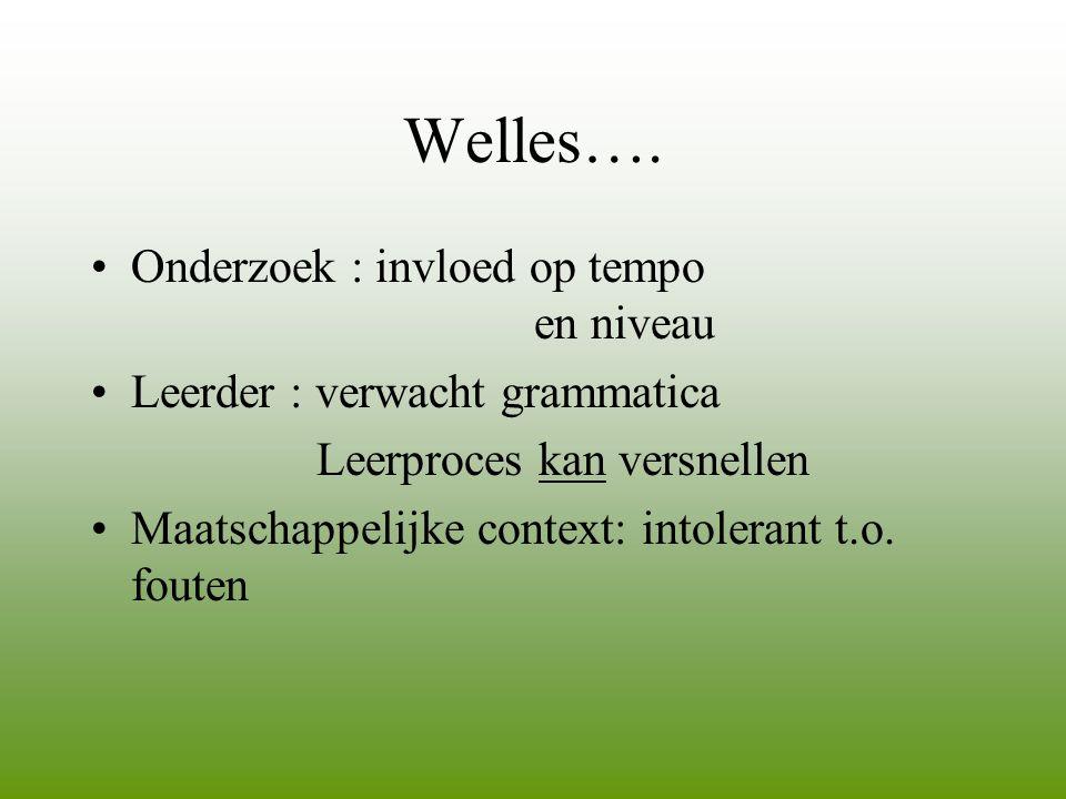 Welles…. •Onderzoek : invloed op tempo en niveau •Leerder : verwacht grammatica Leerproces kan versnellen •Maatschappelijke context: intolerant t.o. f