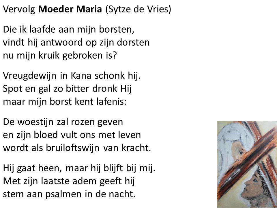 Vervolg Moeder Maria (Sytze de Vries) Die ik laafde aan mijn borsten, vindt hij antwoord op zijn dorsten nu mijn kruik gebroken is? Vreugdewijn in Kan