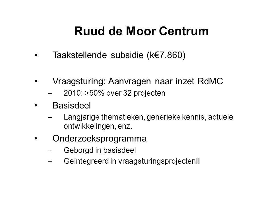 Ruud de Moor Centrum •Taakstellende subsidie (k€7.860) •Vraagsturing: Aanvragen naar inzet RdMC –2010: >50% over 32 projecten •Basisdeel –Langjarige t