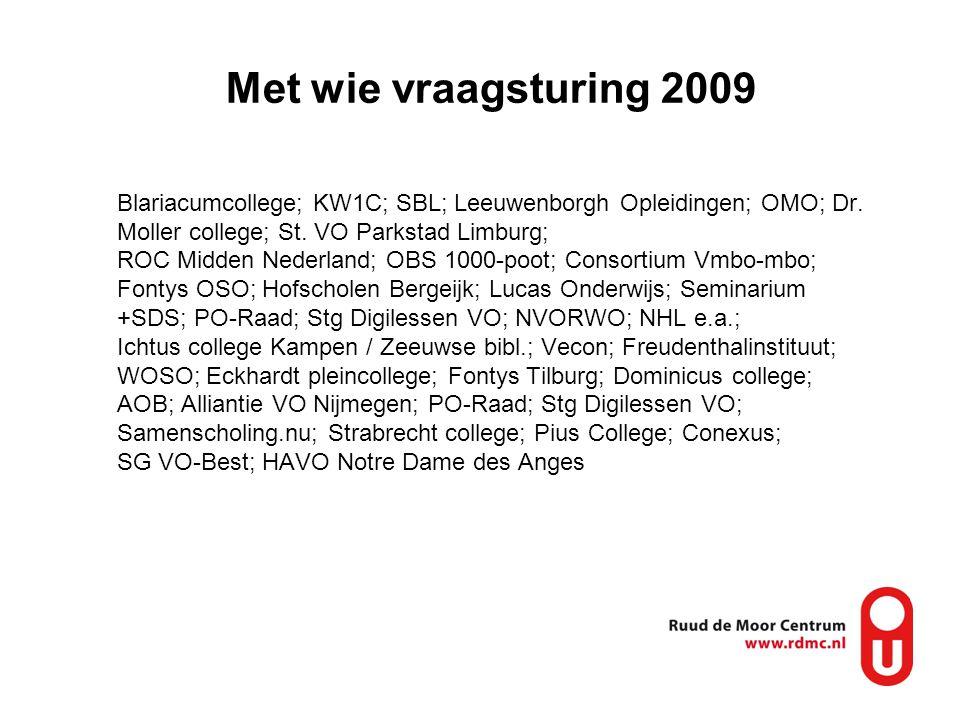 Met wie vraagsturing 2009 Blariacumcollege; KW1C; SBL; Leeuwenborgh Opleidingen; OMO; Dr. Moller college; St. VO Parkstad Limburg; ROC Midden Nederlan