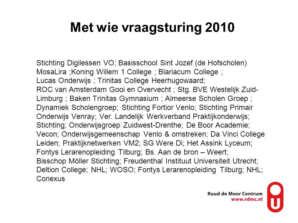 Met wie vraagsturing 2010 Stichting Digilessen VO; Basisschool Sint Jozef (de Hofscholen) MosaLira ;Koning Willem 1 College ; Blariacum College ; Luca
