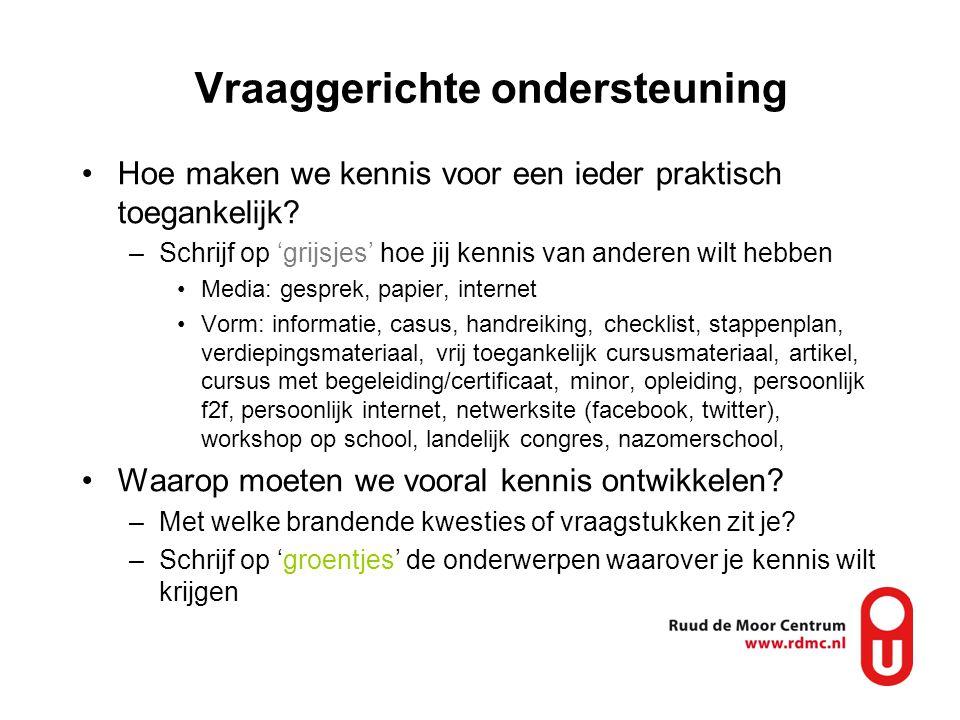Macht is aan de docent / participatie Klantenparticipatie / participatieladder; bij RdMC wordt de docent uitgebreid betrokken –Raadplegen (o.a.