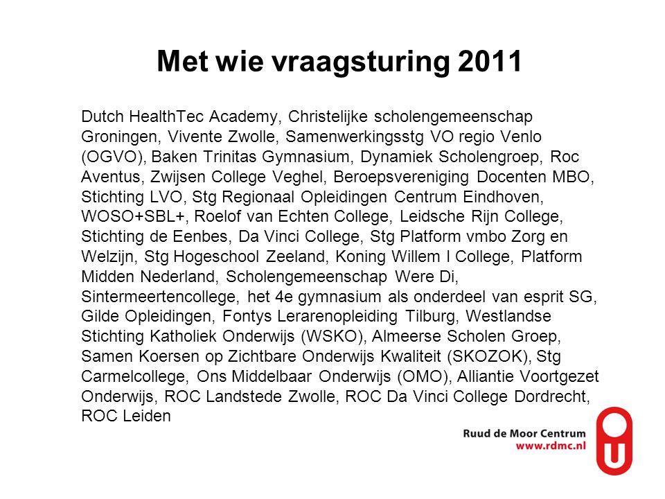 Met wie vraagsturing 2011 Dutch HealthTec Academy, Christelijke scholengemeenschap Groningen, Vivente Zwolle, Samenwerkingsstg VO regio Venlo (OGVO),