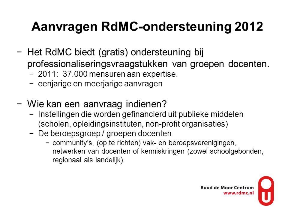Aanvragen RdMC-ondersteuning 2012 −Het RdMC biedt (gratis) ondersteuning bij professionaliseringsvraagstukken van groepen docenten. −2011: 37.000 mens