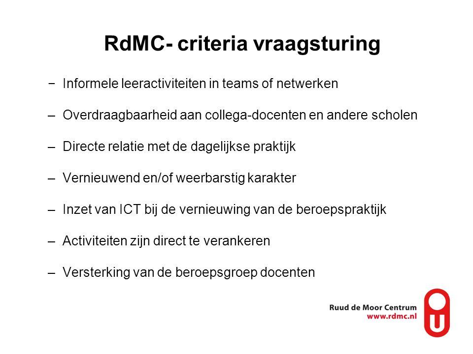 RdMC- criteria vraagsturing −Informele leeractiviteiten in teams of netwerken –Overdraagbaarheid aan collega-docenten en andere scholen –Directe relat