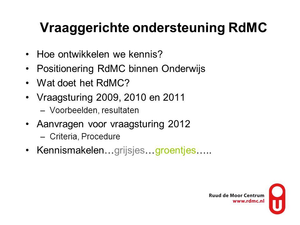 Vraaggerichte ondersteuning RdMC •Hoe ontwikkelen we kennis? •Positionering RdMC binnen Onderwijs •Wat doet het RdMC? •Vraagsturing 2009, 2010 en 2011