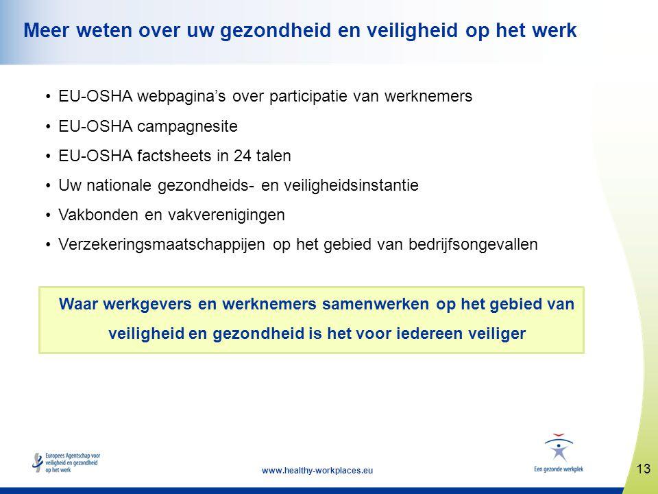 13 www.healthy-workplaces.eu Meer weten over uw gezondheid en veiligheid op het werk •EU-OSHA webpagina's over participatie van werknemers •EU-OSHA ca